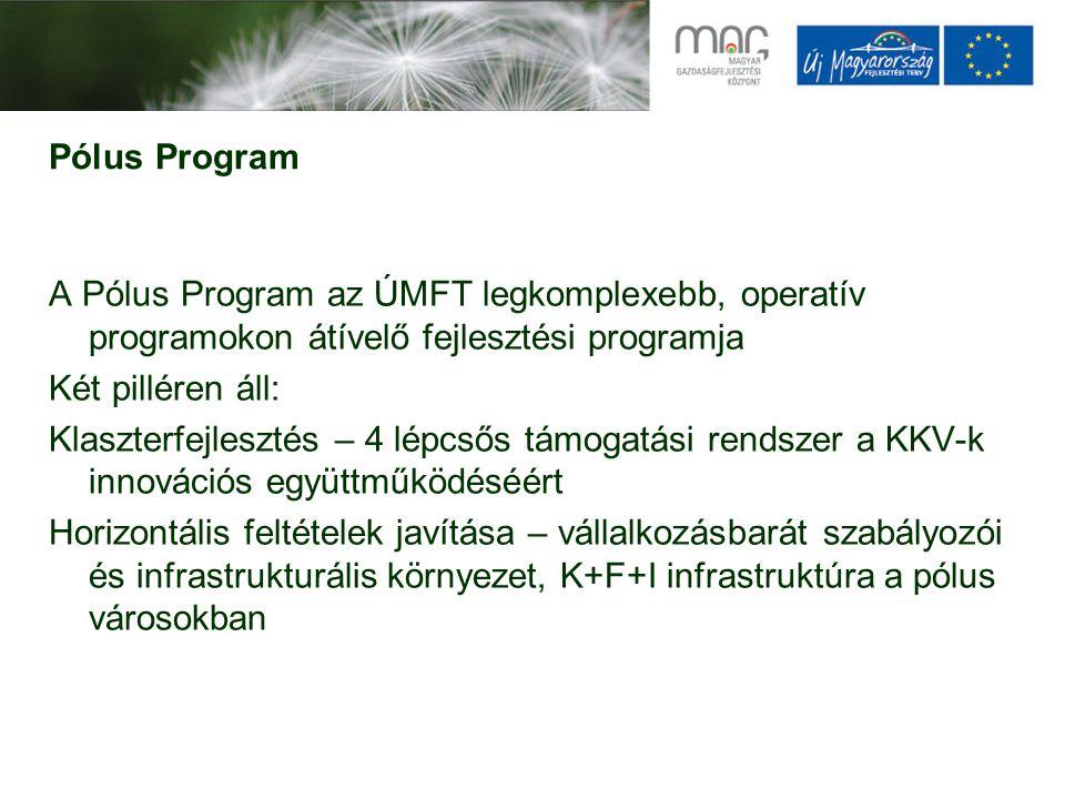 Pólus Program A Pólus Program az ÚMFT legkomplexebb, operatív programokon átívelő fejlesztési programja Két pilléren áll: Klaszterfejlesztés – 4 lépcsős támogatási rendszer a KKV-k innovációs együttműködéséért Horizontális feltételek javítása – vállalkozásbarát szabályozói és infrastrukturális környezet, K+F+I infrastruktúra a pólus városokban