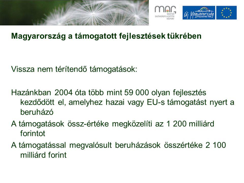 Magyarország a támogatott fejlesztések tükrében Vissza nem térítendő támogatások: Hazánkban 2004 óta több mint 59 000 olyan fejlesztés kezdődött el, amelyhez hazai vagy EU-s támogatást nyert a beruházó A támogatások össz-értéke megközelíti az 1 200 milliárd forintot A támogatással megvalósult beruházások összértéke 2 100 milliárd forint