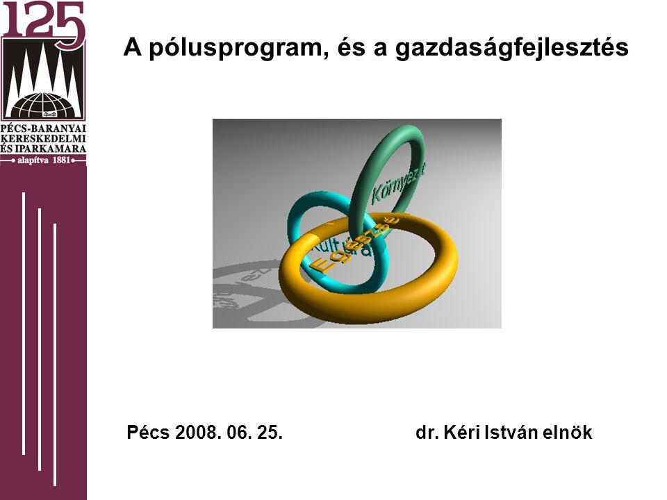 A pólusprogram, és a gazdaságfejlesztés Pécs 2008. 06. 25. dr. Kéri István elnök