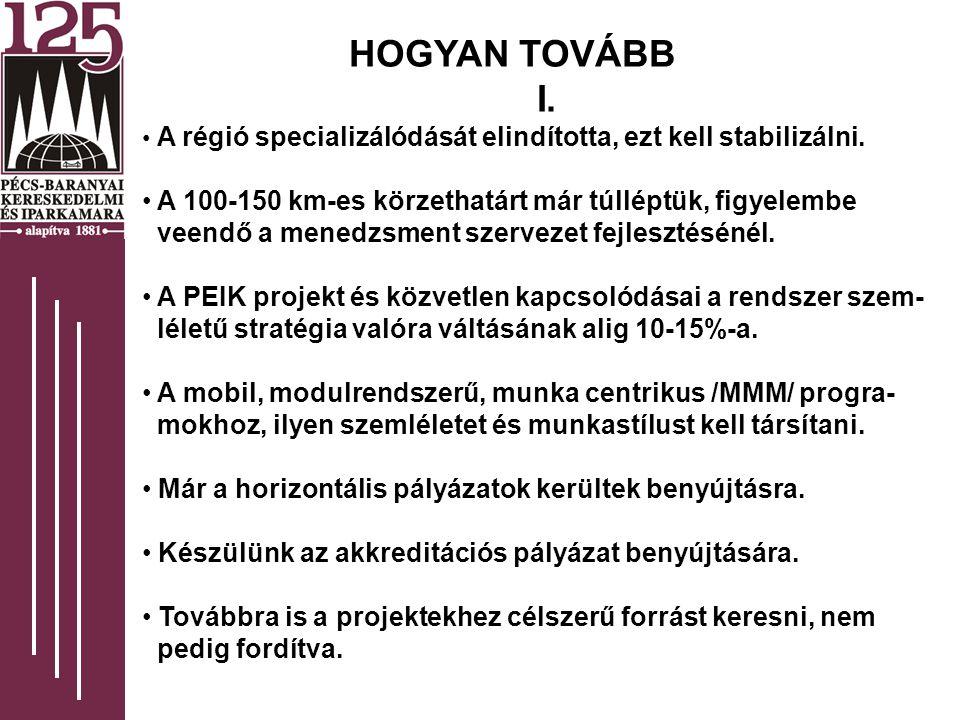 HOGYAN TOVÁBB I. A régió specializálódását elindította, ezt kell stabilizálni.