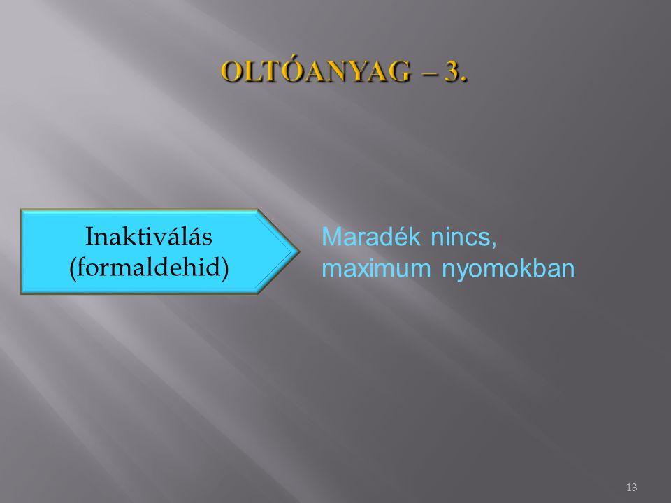 13 Inaktiválás (formaldehid) Maradék nincs, maximum nyomokban