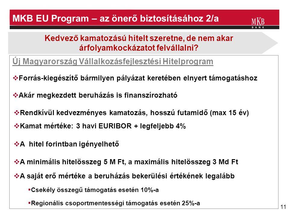 11 MKB EU Program – az önerő biztosításához 2/a Új Magyarország Vállalkozásfejlesztési Hitelprogram  A hitel forintban igényelhető  Rendkívül kedvezményes kamatozás, hosszú futamidő (max 15 év)  Kamat mértéke: 3 havi EURIBOR + legfeljebb 4% Kedvező kamatozású hitelt szeretne, de nem akar árfolyamkockázatot felvállalni.