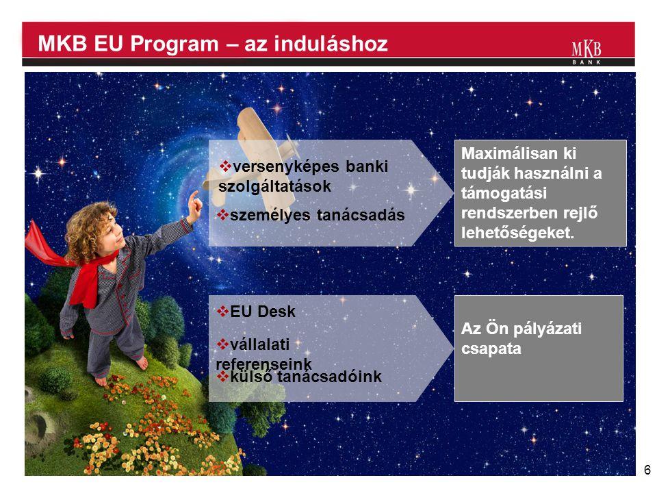 6 MKB EU Program – az induláshoz  EU Desk  vállalati referenseink  külső tanácsadóink Az Ön pályázati csapata  versenyképes banki szolgáltatások Maximálisan ki tudják használni a támogatási rendszerben rejlő lehetőségeket.