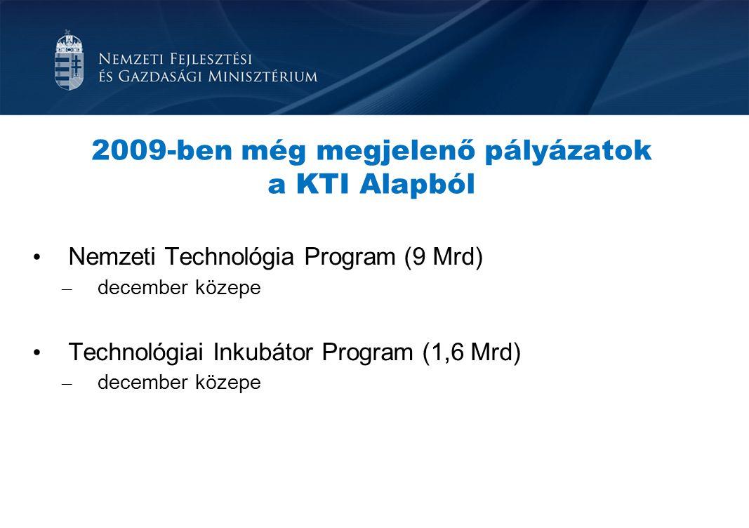 2009-ben még megjelenő pályázatok a KTI Alapból Nemzeti Technológia Program (9 Mrd) – december közepe Technológiai Inkubátor Program (1,6 Mrd) – decem