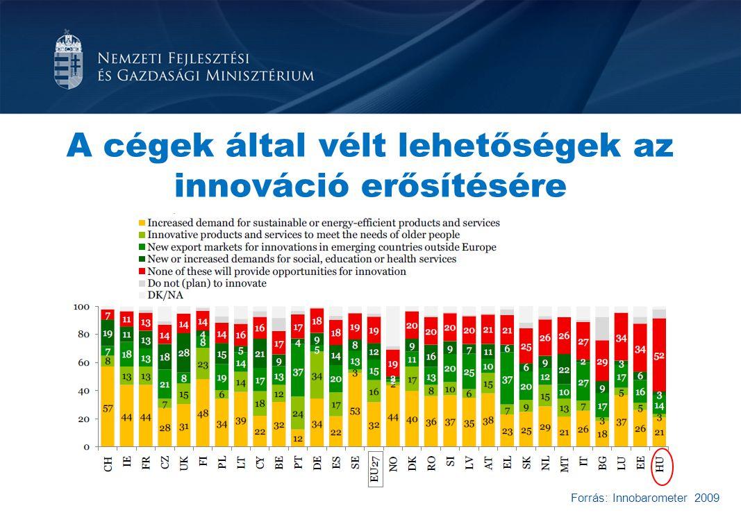 Forrás: Innobarometer 2009 A cégek által vélt lehetőségek az innováció erősítésére