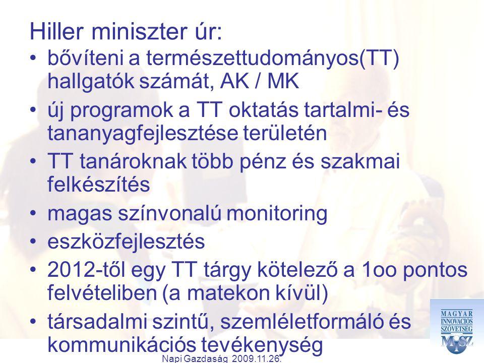 Napi Gazdaság 2009.11.26. Hiller miniszter úr: bővíteni a természettudományos(TT) hallgatók számát, AK / MK új programok a TT oktatás tartalmi- és tan