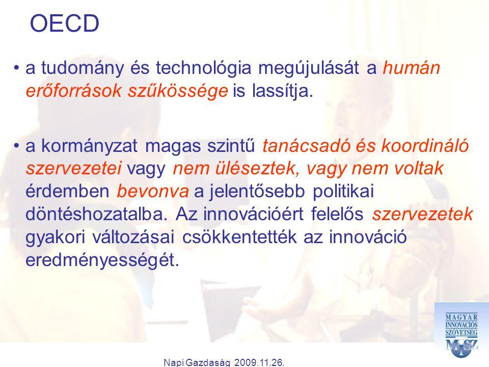 Napi Gazdaság 2009.11.26. OECD a tudomány és technológia megújulását a humán erőforrások szűkössége is lassítja. a kormányzat magas szintű tanácsadó é