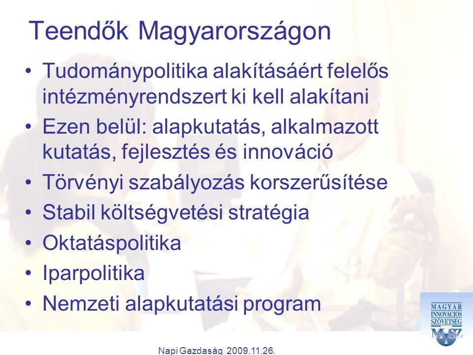 Napi Gazdaság 2009.11.26. Teendők Magyarországon Tudománypolitika alakításáért felelős intézményrendszert ki kell alakítani Ezen belül: alapkutatás, a