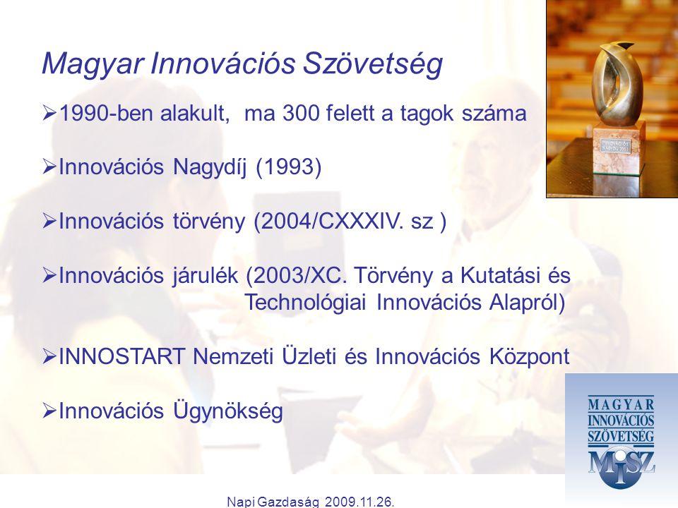 Napi Gazdaság 2009.11.26. Magyar Innovációs Szövetség  1990-ben alakult, ma 300 felett a tagok száma  Innovációs Nagydíj (1993)  Innovációs törvény