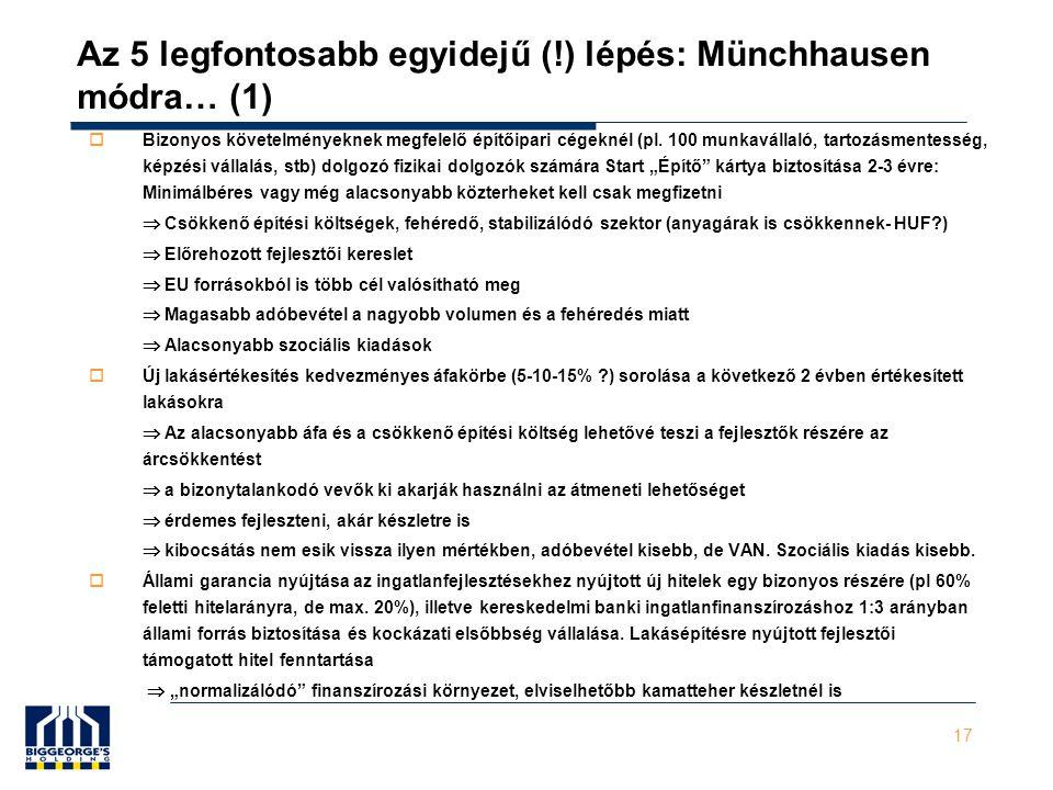 17 Az 5 legfontosabb egyidejű (!) lépés: Münchhausen módra… (1)  Bizonyos követelményeknek megfelelő építőipari cégeknél (pl.