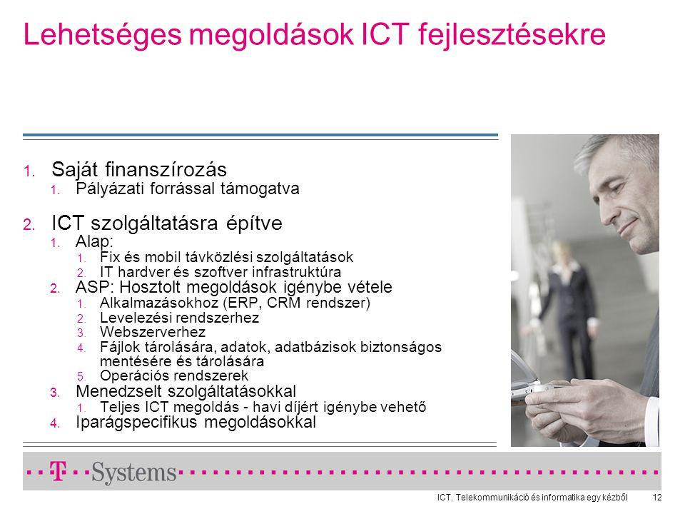 ICT. Telekommunikáció és informatika egy kézből12 Lehetséges megoldások ICT fejlesztésekre  Saját finanszírozás  Pályázati forrással támogatva 