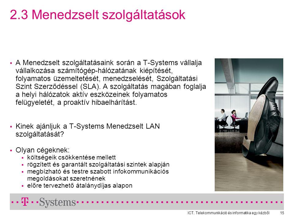 ICT. Telekommunikáció és informatika egy kézből15 2.3 Menedzselt szolgáltatások  A Menedzselt szolgáltatásaink során a T-Systems vállalja vállalkozás