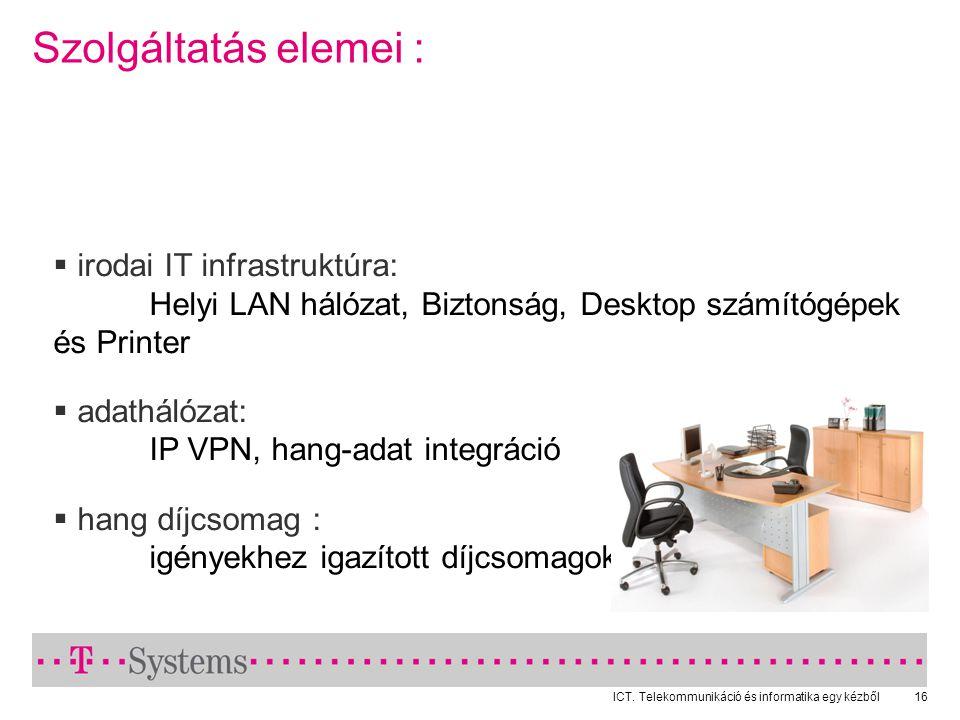 ICT. Telekommunikáció és informatika egy kézből16 Szolgáltatás elemei :  irodai IT infrastruktúra: Helyi LAN hálózat, Biztonság, Desktop számítógépek