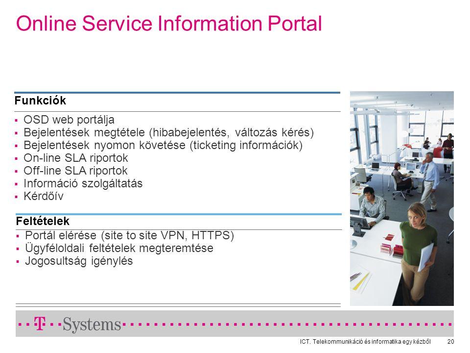 ICT. Telekommunikáció és informatika egy kézből20 Online Service Information Portal  OSD web portálja  Bejelentések megtétele (hibabejelentés, válto