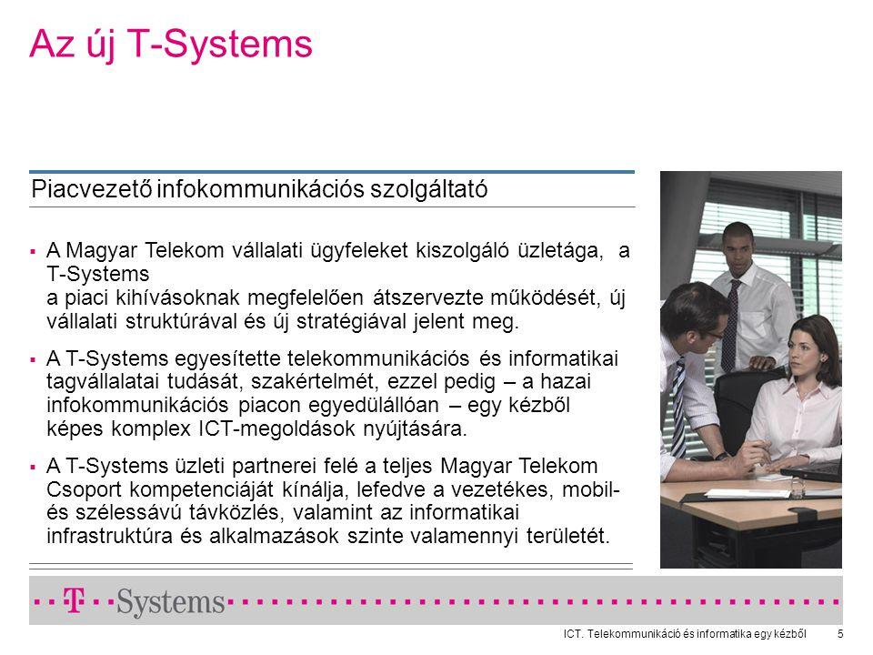ICT. Telekommunikáció és informatika egy kézből5  A Magyar Telekom vállalati ügyfeleket kiszolgáló üzletága, a T-Systems a piaci kihívásoknak megfele