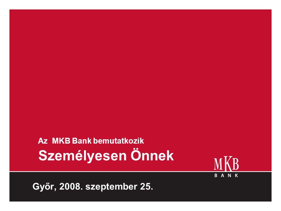 Az MKB Bank bemutatkozik Személyesen Önnek Győr, 2008. szeptember 25.