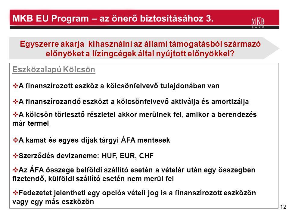12 MKB EU Program – az önerő biztosításához 3. Eszközalapú Kölcsön  A finanszírozott eszköz a kölcsönfelvevő tulajdonában van  A kölcsön törlesztő r