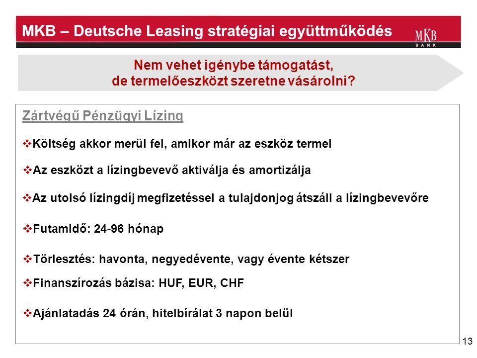 13 MKB – Deutsche Leasing stratégiai együttműködés Nem vehet igénybe támogatást, de termelőeszközt szeretne vásárolni?  Költség akkor merül fel, amik