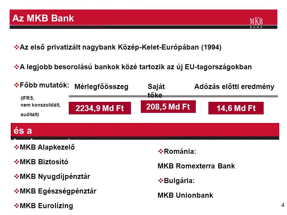 4 Az MKB Bank  Az első privatizált nagybank Közép-Kelet-Európában (1994)  A legjobb besorolású bankok közé tartozik az új EU-tagországokban  Főbb m