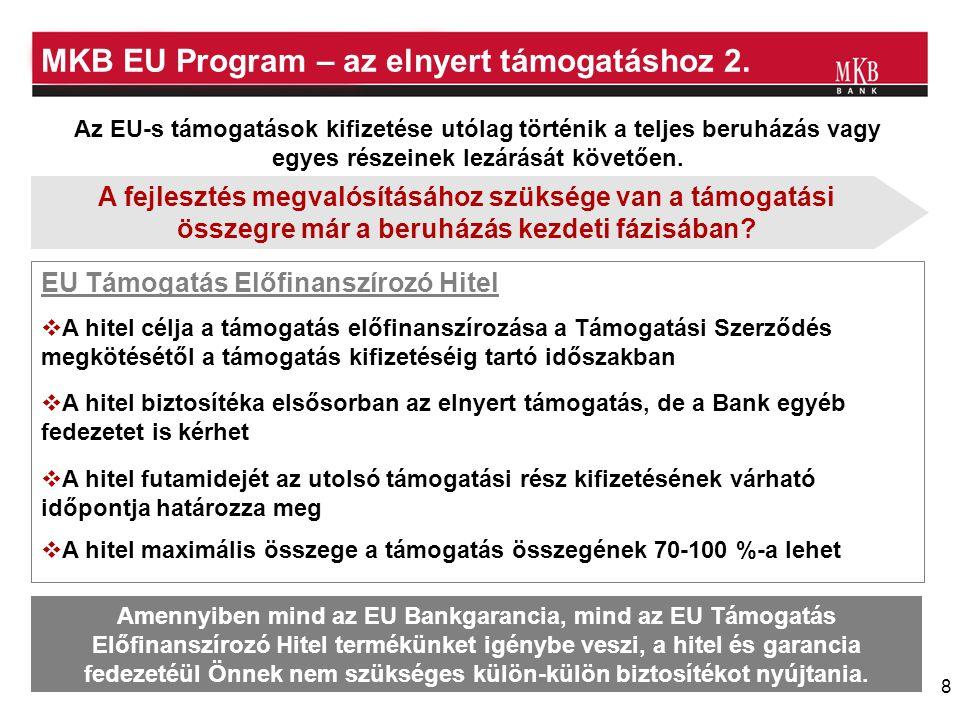 8 MKB EU Program – az elnyert támogatáshoz 2. EU Támogatás Előfinanszírozó Hitel Az EU-s támogatások kifizetése utólag történik a teljes beruházás vag