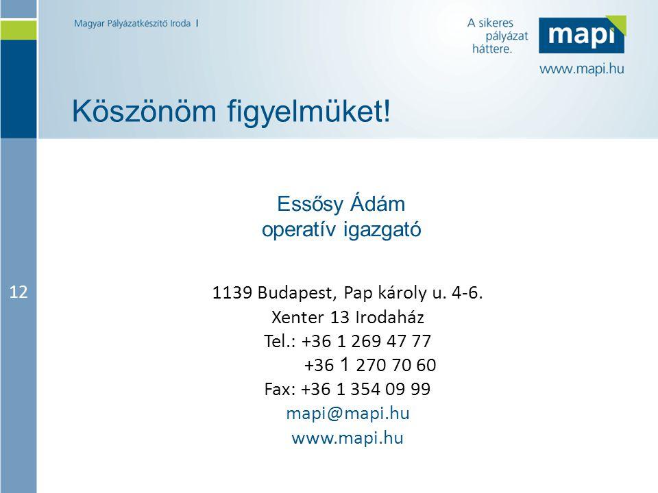 12 Köszönöm figyelmüket. 1139 Budapest, Pap károly u.