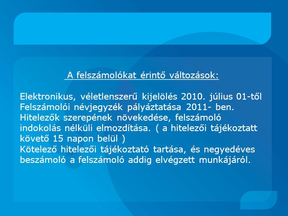 A felszámolókat érintő változások: Elektronikus, véletlenszerű kijelölés 2010.
