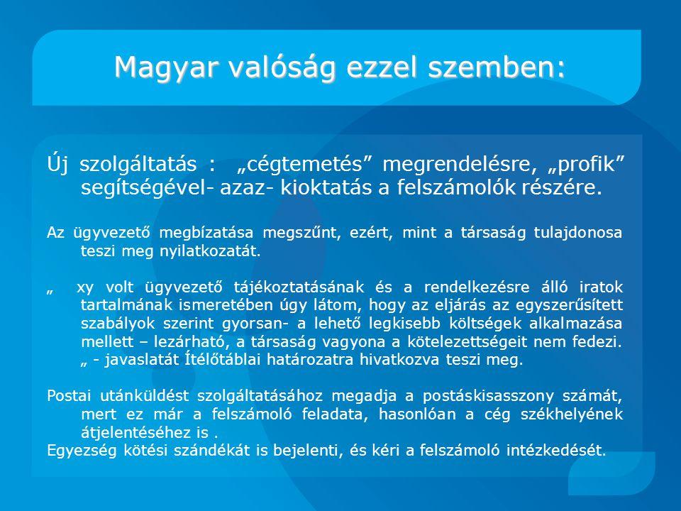 """Magyar valóság ezzel szemben: Új szolgáltatás : """"cégtemetés megrendelésre, """"profik segítségével- azaz- kioktatás a felszámolók részére."""