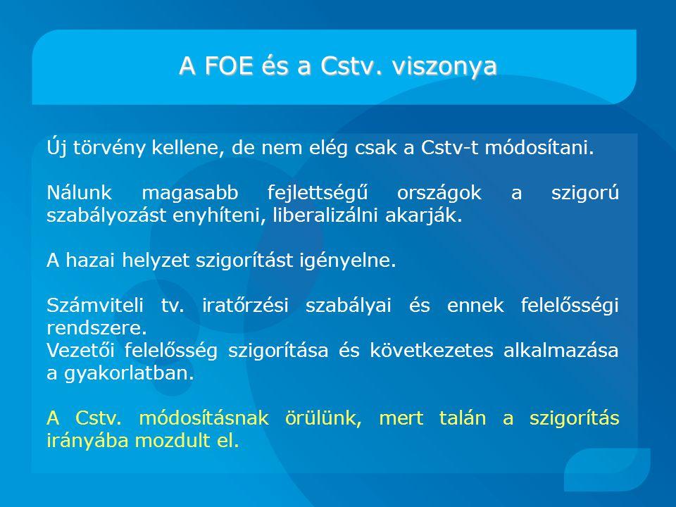 A FOE és a Cstv.viszonya Új törvény kellene, de nem elég csak a Cstv-t módosítani.