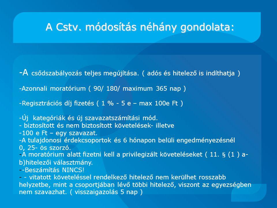 A Cstv.módosítás néhány gondolata: A Cstv.