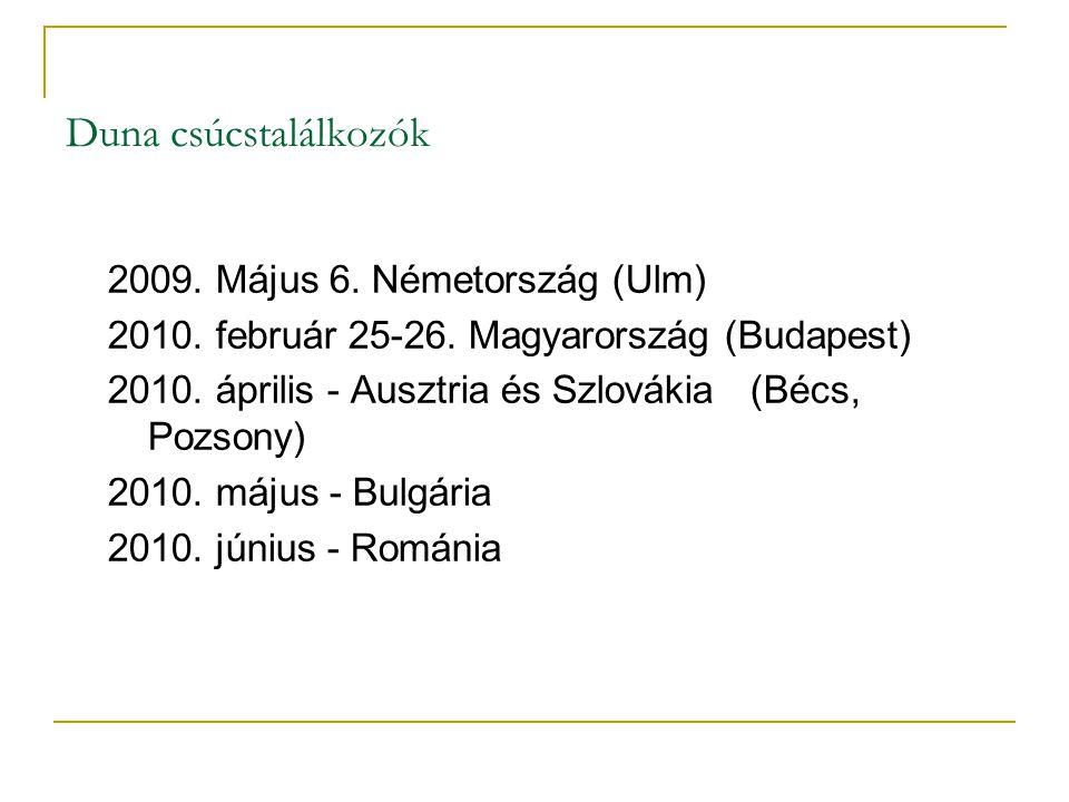 Duna csúcstalálkozók 2009. Május 6. Németország (Ulm) 2010. február 25-26. Magyarország (Budapest) 2010. április - Ausztria és Szlovákia (Bécs, Pozson