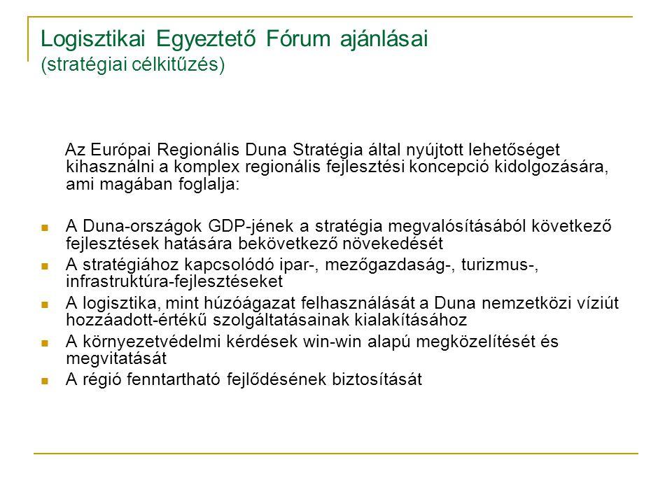 Logisztikai Egyeztető Fórum ajánlásai (stratégiai célkitűzés) Az Európai Regionális Duna Stratégia által nyújtott lehetőséget kihasználni a komplex re