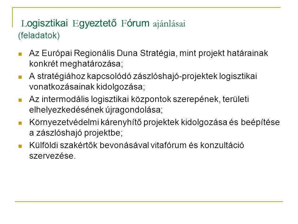 L ogisztikai E gyeztető F órum ajánlásai (feladatok) Az Európai Regionális Duna Stratégia, mint projekt határainak konkrét meghatározása; A stratégiáh