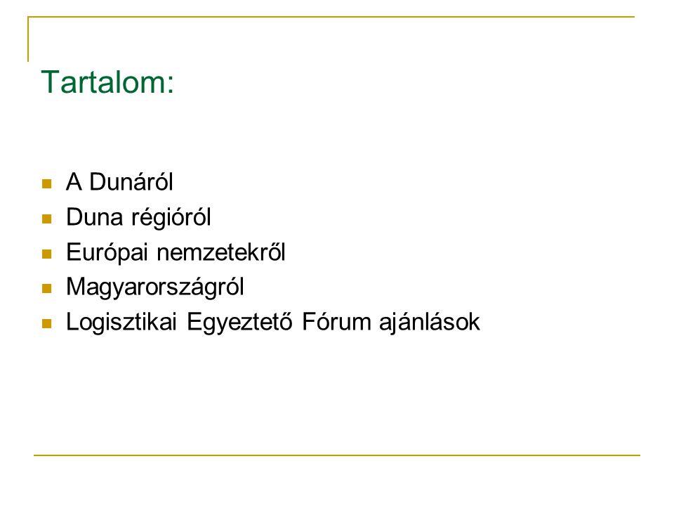 Tartalom: A Dunáról Duna régióról Európai nemzetekről Magyarországról Logisztikai Egyeztető Fórum ajánlások