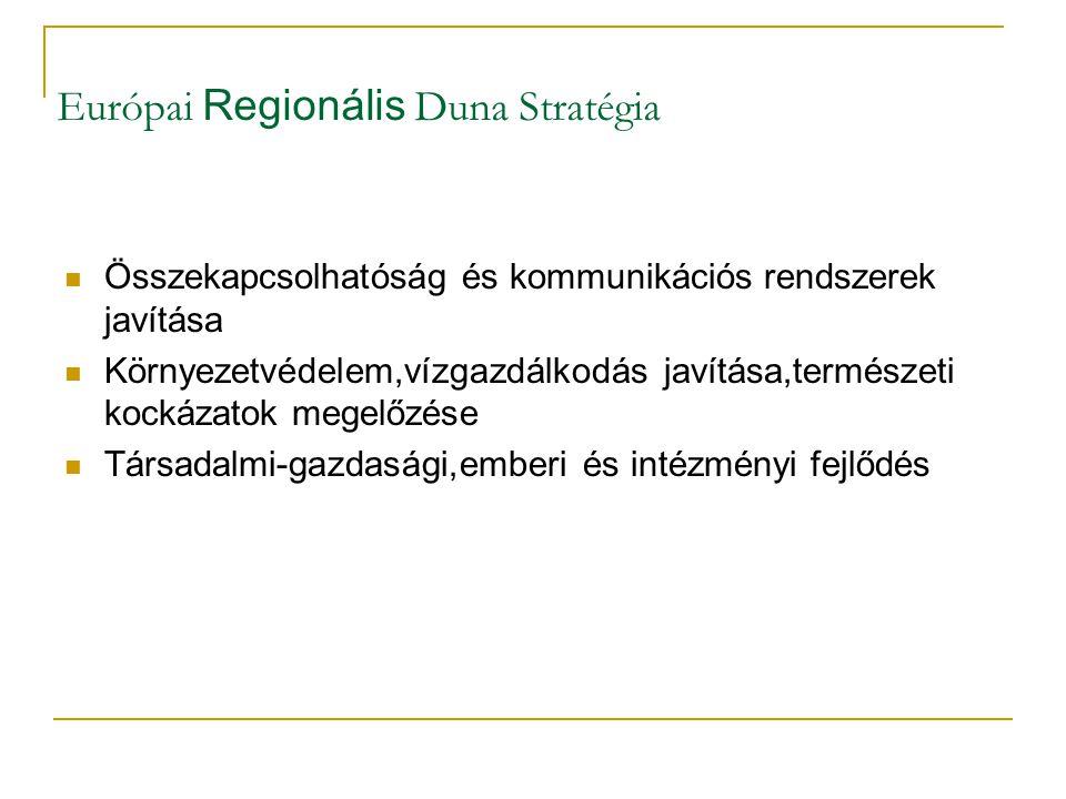Európai Regionális Duna Stratégia Összekapcsolhatóság és kommunikációs rendszerek javítása Környezetvédelem,vízgazdálkodás javítása,természeti kockáza