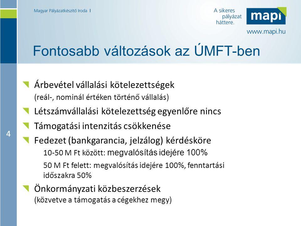 4 Fontosabb változások az ÚMFT-ben Árbevétel vállalási kötelezettségek (reál-, nominál értéken történő vállalás) Létszámvállalási kötelezettség egyenl