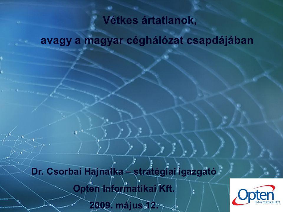 """Ártatlan áldozatok 1 """"a számok tükrében Dr.Csorbai Hajnalka – stratégiai igazgató, Opten Kft."""