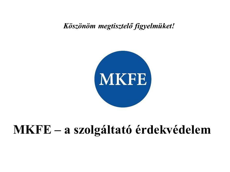 Köszönöm megtisztelő figyelmüket! MKFE – a szolgáltató érdekvédelem