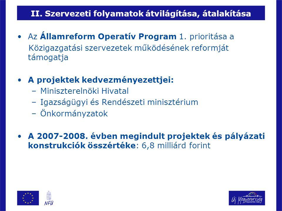 II.Szervezeti folyamatok átvilágítása, átalakítása A 2007-2008.