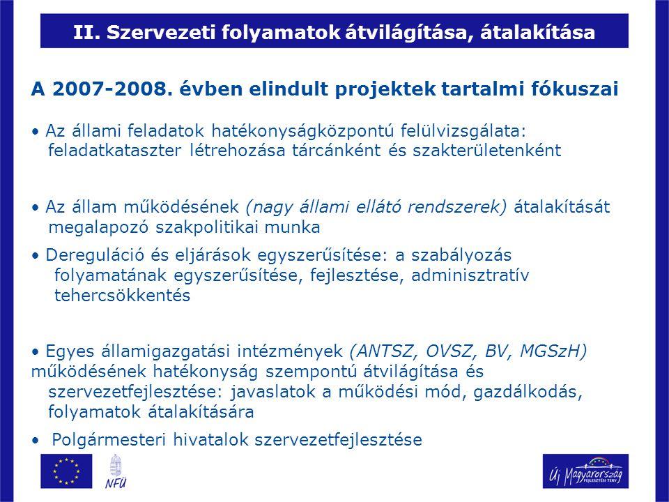 A polgármesteri hivatalok szervezetfejlesztése Három szervezeti működési részterület együttes megvalósítása a pályázatokban (301 nyertes, 5,8 Mrd) – Döntéshozatali folyamatok megújítása – Költségvetési gazdálkodás fejlesztése – Partnerség fejlesztése Várakozásaink – A folyamatra fókuszáló fejlesztés valósulhat meg az önkormányzatoknál – A szoftverfejlesztés csak kiegészítője az egyébként meghatározott fejlesztési iránynak – Javuló működési hatékonyság az egyes szervezetek szintjén és következtetések a rendszer szintjén a további fejlesztésekhez