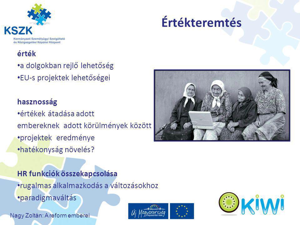 Nagy Zoltán: A reform emberei Értékteremtés érték a dolgokban rejlő lehetőség EU-s projektek lehetőségei hasznosság értékek átadása adott embereknek a