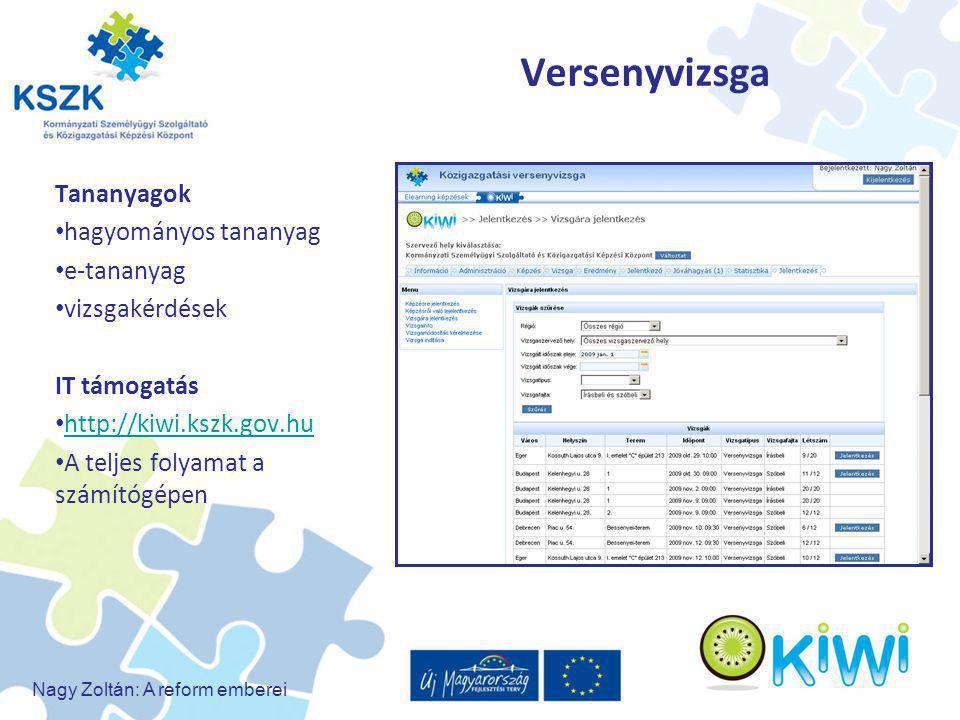 Nagy Zoltán: A reform emberei Versenyvizsga Tananyagok hagyományos tananyag e-tananyag vizsgakérdések IT támogatás http://kiwi.kszk.gov.hu A teljes fo