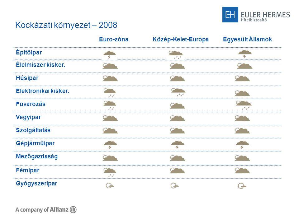 Kockázatok Magyarországon 2007 Építőipar Élelmiszer kiskereskedelem Húsipar Elektronikai kiskereskedelem Fuvarozás Vegyipar Szolgáltatás Gépjárműipar Mezőgazdaság Fémipar Gyógyszeripar