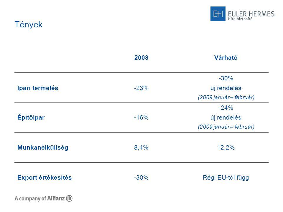Tények 2008Várható Ipari termelés-23% -30% új rendelés (2009 január – február) Építőipar-16% -24% új rendelés (2009 január – február) Munkanélküliség8,4%12,2% Export értékesítés-30%Régi EU-tól függ
