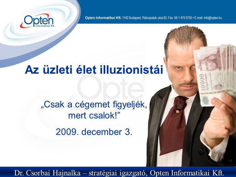 """Az üzleti élet illuzionistái """"Csak a cégemet figyeljék, mert csalok!"""" 2009. december 3. Dr. Csorbai Hajnalka – stratégiai igazgató, Opten Informatikai"""