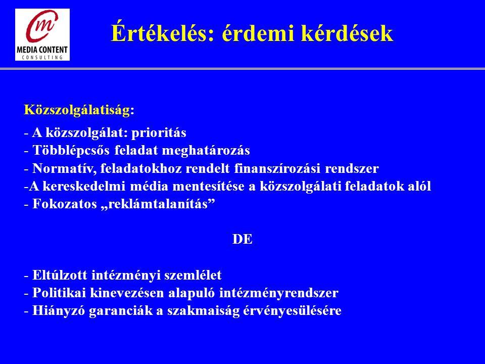 """Közszolgálatiság: - A közszolgálat: prioritás - Többlépcsős feladat meghatározás - Normatív, feladatokhoz rendelt finanszírozási rendszer -A kereskedelmi média mentesítése a közszolgálati feladatok alól - Fokozatos """"reklámtalanítás DE - Eltúlzott intézményi szemlélet - Politikai kinevezésen alapuló intézményrendszer - Hiányzó garanciák a szakmaiság érvényesülésére Értékelés: érdemi kérdések"""