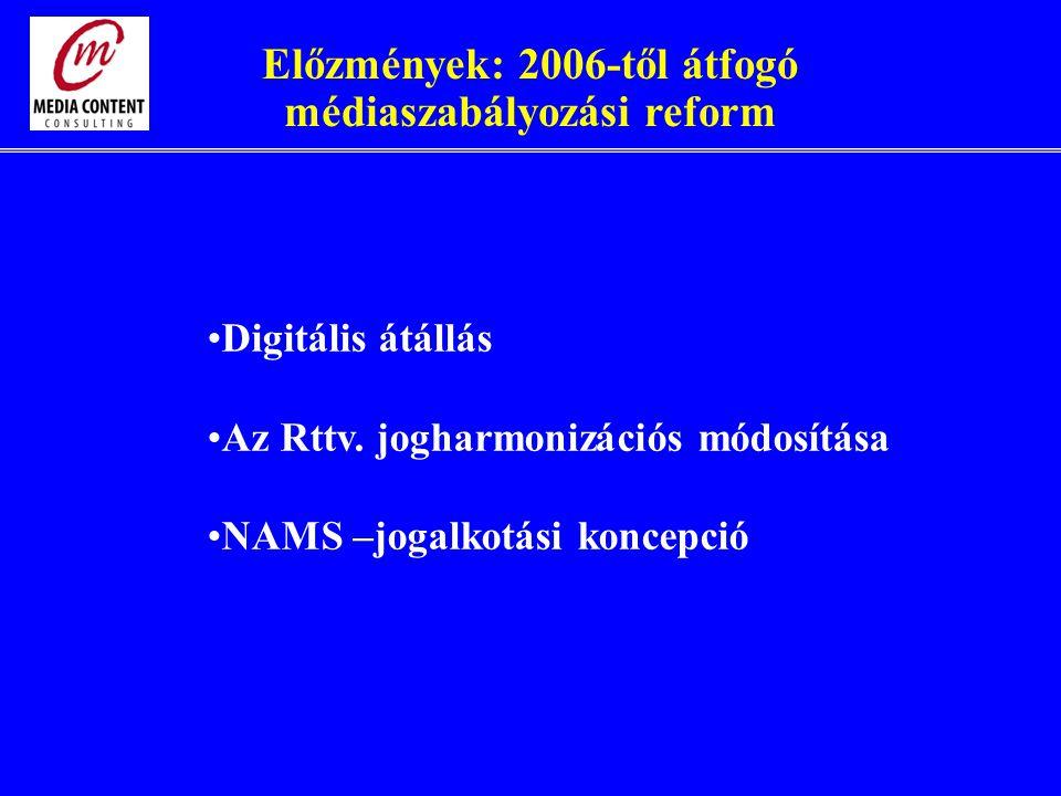 Előzmények: 2006-től átfogó médiaszabályozási reform Digitális átállás Az Rttv.