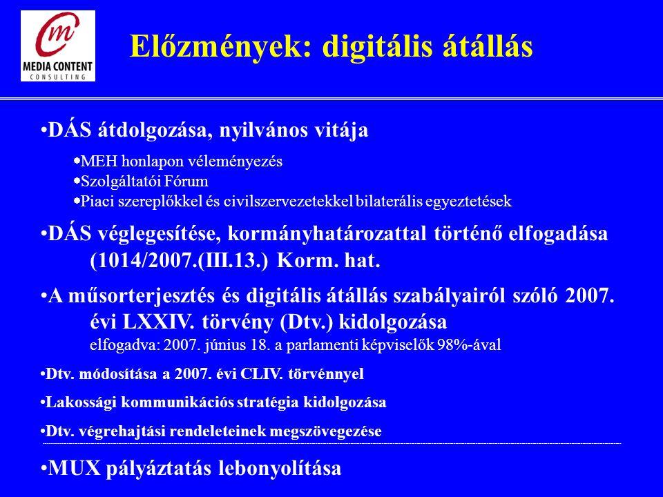 Előzmények: digitális átállás DÁS átdolgozása, nyilvános vitája  MEH honlapon véleményezés  Szolgáltatói Fórum  Piaci szereplőkkel és civilszervezetekkel bilaterális egyeztetések DÁS véglegesítése, kormányhatározattal történő elfogadása (1014/2007.(III.13.) Korm.