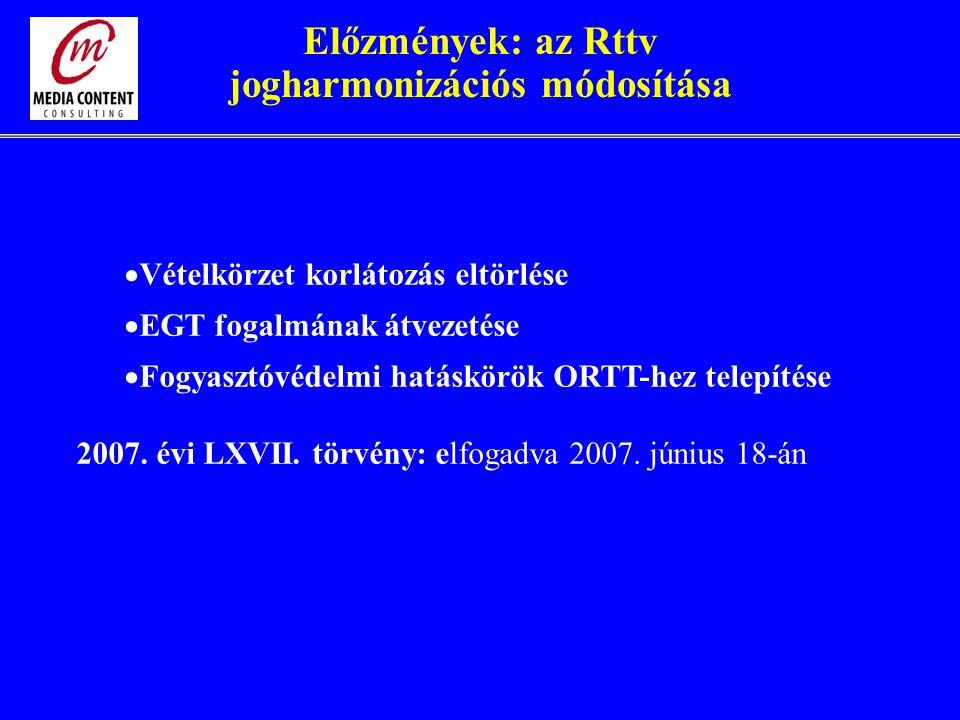 Előzmények: az Rttv jogharmonizációs módosítása  Vételkörzet korlátozás eltörlése  EGT fogalmának átvezetése  Fogyasztóvédelmi hatáskörök ORTT-hez telepítése 2007.