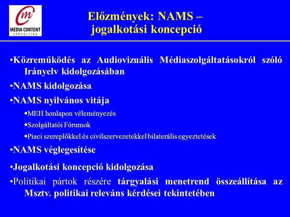 Előzmények: NAMS – jogalkotási koncepció Közreműködés az Audiovizuális Médiaszolgáltatásokról szóló Irányelv kidolgozásában NAMS kidolgozása NAMS nyilvános vitája  MEH honlapon véleményezés  Szolgáltatói Fórumok  Piaci szereplőkkel és civilszervezetekkel bilaterális egyeztetések NAMS véglegesítése Jogalkotási koncepció kidolgozása Politikai pártok részére tárgyalási menetrend összeállítása az Msztv.