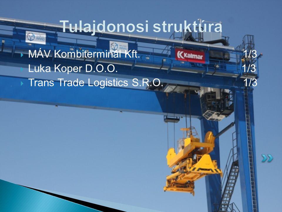 Tulajdonosi struktúra  MÁV Kombiterminál Kft.1/3  Luka Koper D.O.O. 1/3  Trans Trade Logistics S.R.O. 1/3
